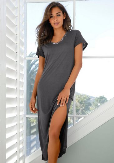 LASCANA Nachthemd in langer Form mit gemustertem Einsatz
