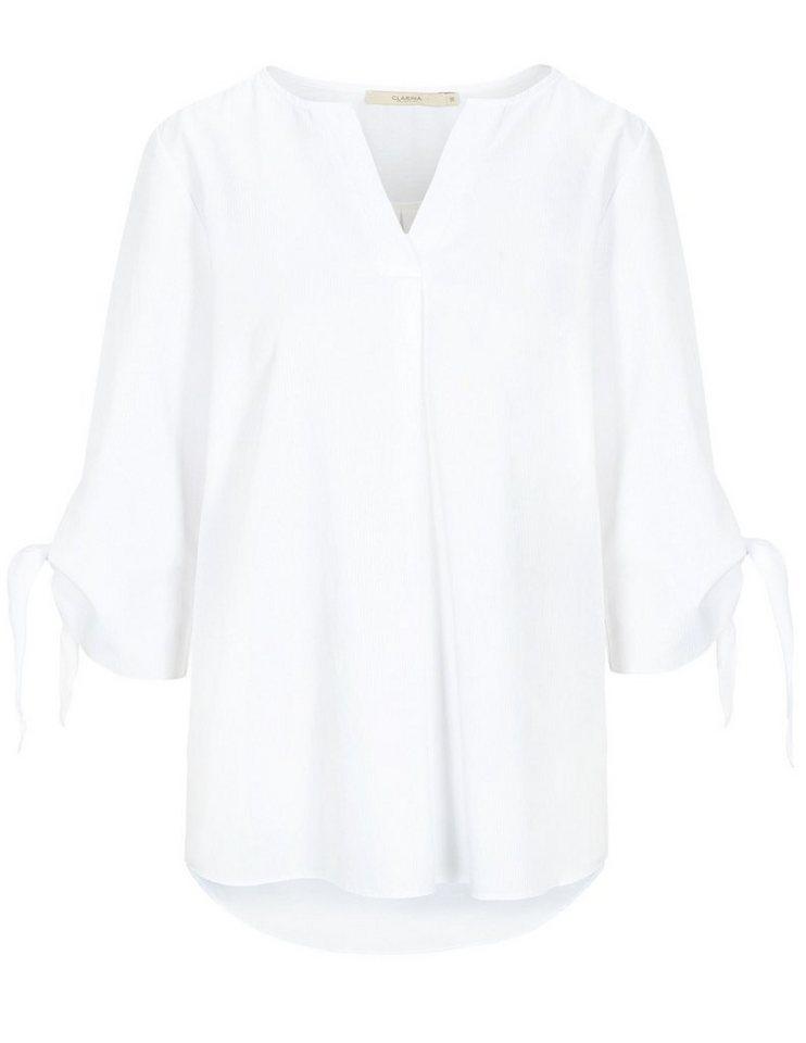 Clarina Klassische Bluse 3/4 Ärmel mit Bindedetails | Bekleidung > Blusen > Klassische Blusen | Weiß | Clarina