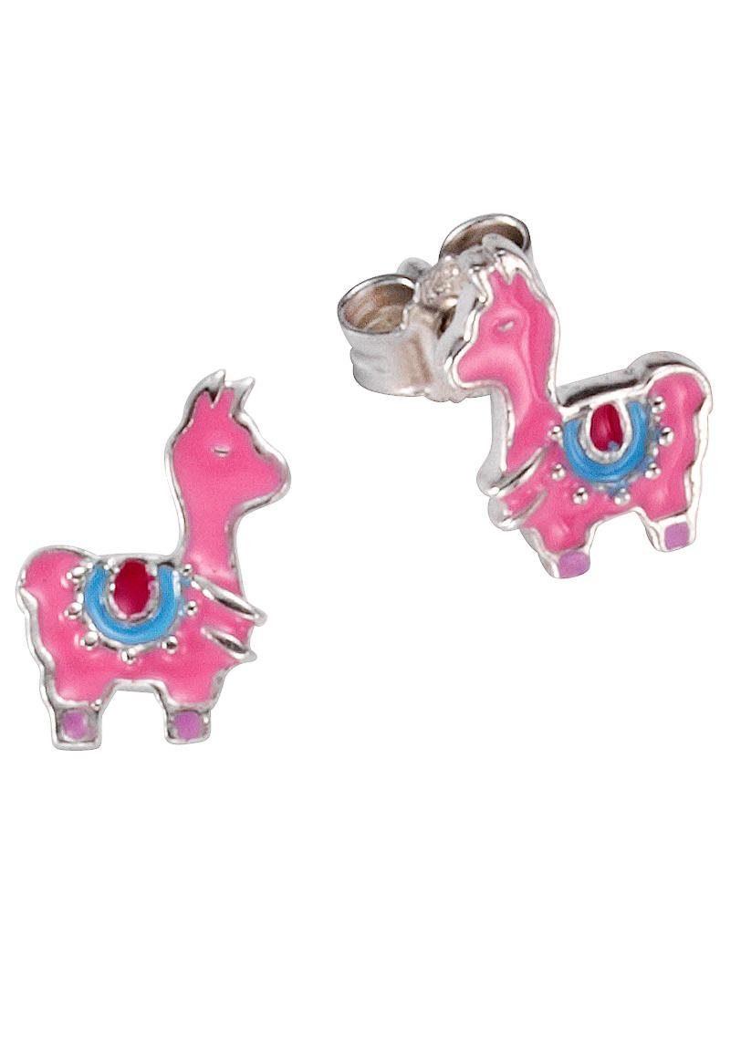 Firetti Paar Ohrstecker »Lama« mit pinkfarbenem, blauem und rotem Lack