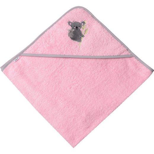 "Liliput Kapuzenbadetuch rosa mit grauer Paspel, Stickerei ""Koala"", 8"
