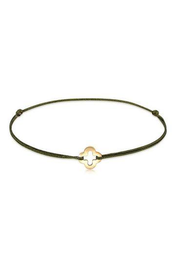 Elli Armband »Kleeblatt Nylon Bändchen 925er Silber vergoldet«
