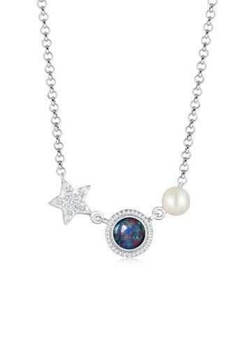 Nenalina Collierkettchen »Stern Opal Perle Swarovski® Kristalle 925 Silber«