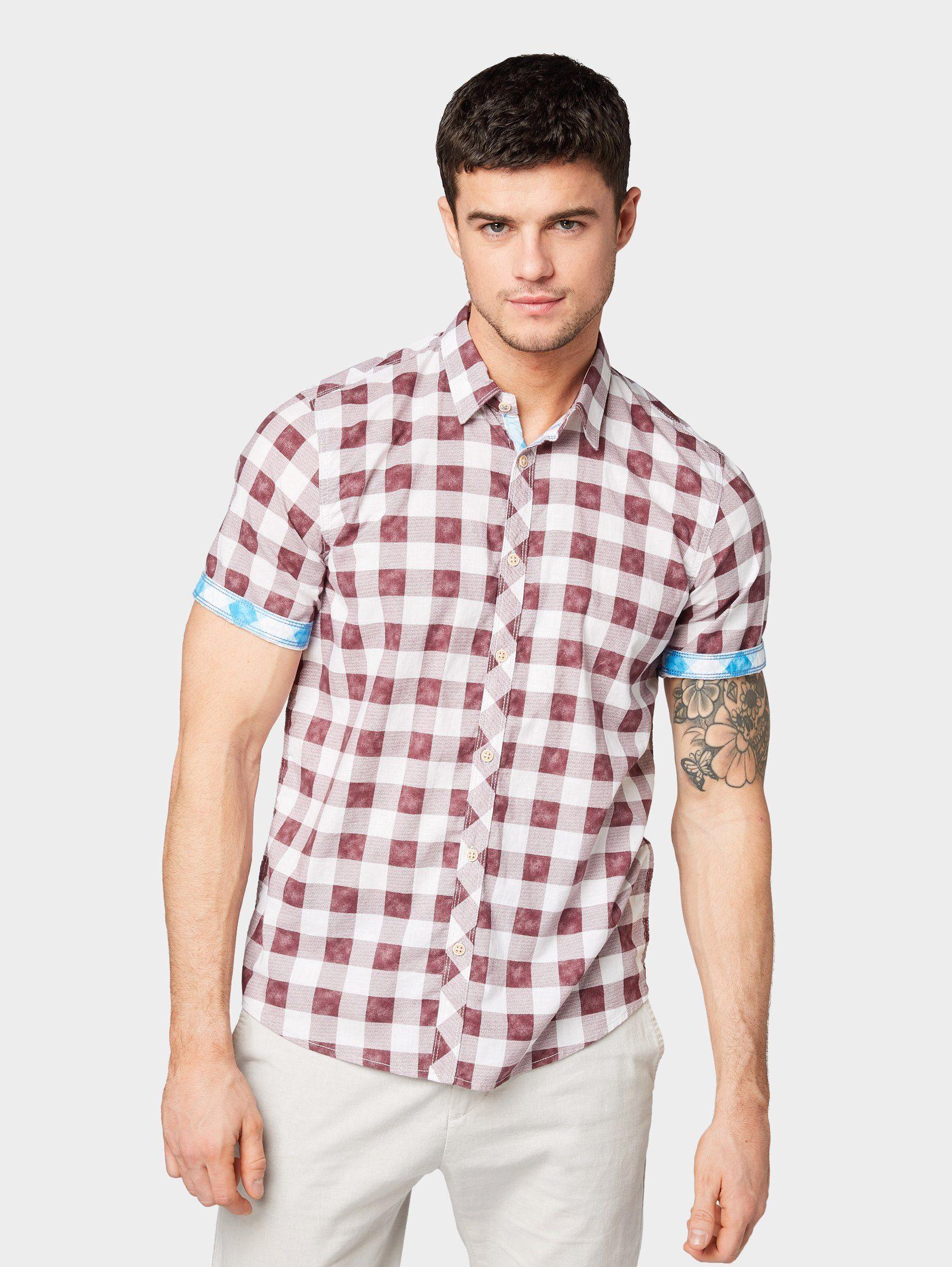 Herren TOM TAILOR Kurzarmhemd »Kariertes Hemd« blau, grün, rot | 04061945568013