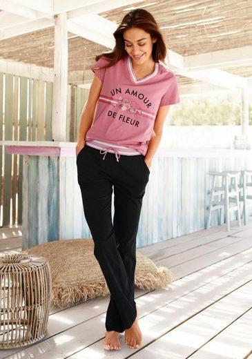 Vivance Dreams Pyjama mit Retro-Blumenprint