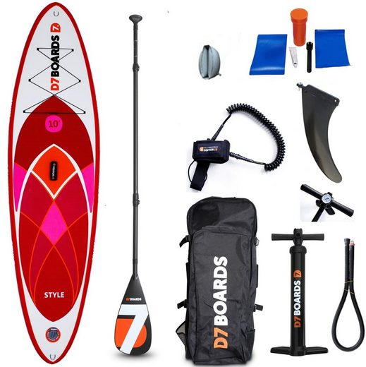 D7 Inflatable SUP-Board »10.0 Style«, (Set, 9 tlg)