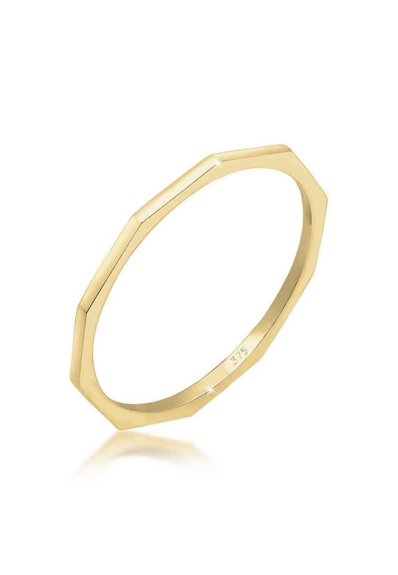 Elli Fingerring »Bandring Geo Basic Minimal Look 375er Gelbgold«