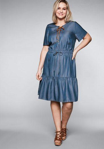 Sheego Sommerkleid in Denimoptik aus Lyocell