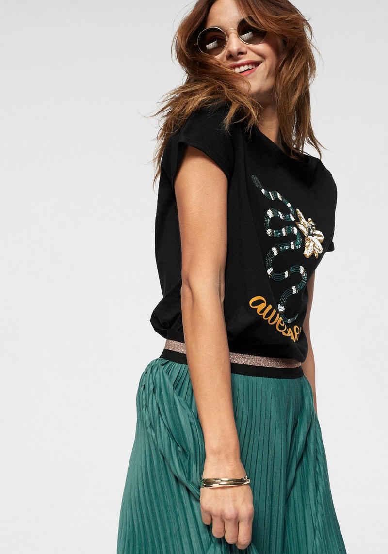 AJC T-Shirt mit Print & Pailletten-Applikation im Dschungel-Design