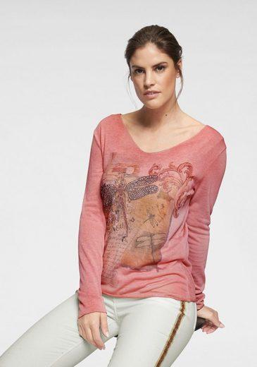 ZABAIONE V-Ausschnitt-Pullover »Alice« vorne mit Druck und Glitzersteinen