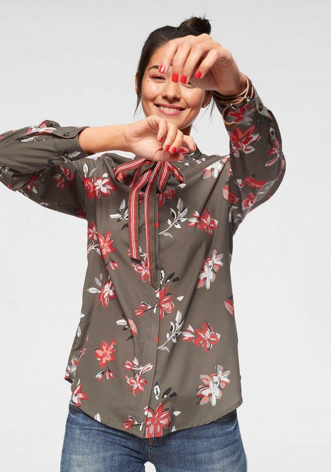 AJC Druckbluse (1-tlg) mit Bindeschleife vorn und Allover-Druck | Bekleidung > Blusen > Druckblusen | Grün | AJC