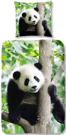 Kinderbettwäsche »Panda«, good morning, mit Pandabär