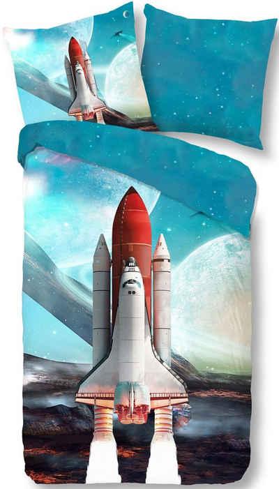 Wendebettwäsche »Spaceshuttle«, good morning, mit Raumschiff