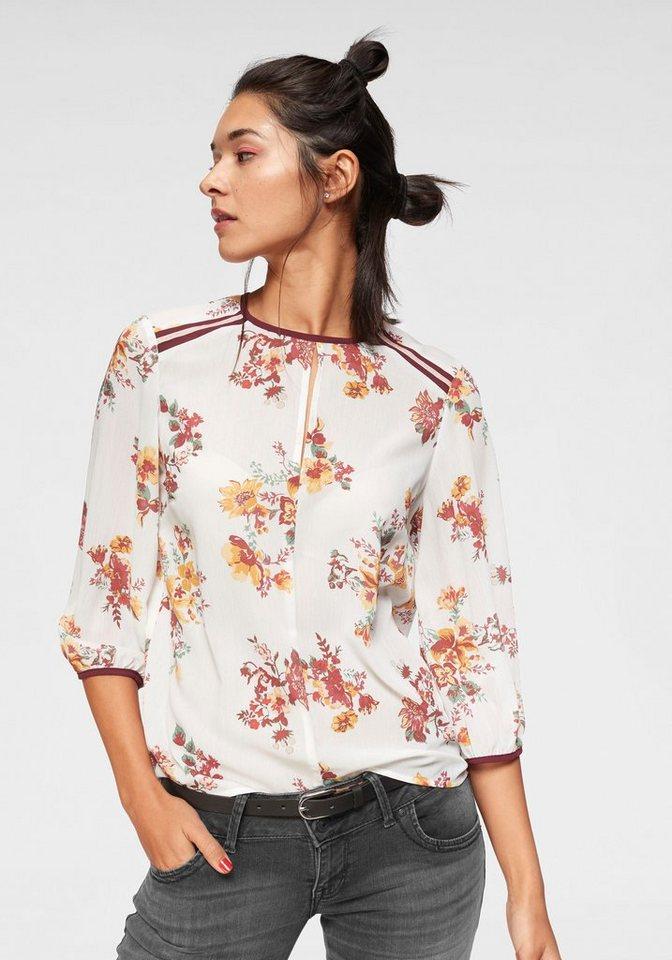 AJC Schlupfbluse im Blumendesign mit Samtdetails   Bekleidung > Blusen > Schlupfblusen   Weiß   Jeans   AJC