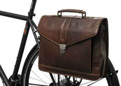 Gusti Leder Aktentasche »Eddy M.« (1-tlg), Gepäckträgertasche kompatibel mit Klickfix Umhängetasche Fahrradtasche Ledertasche