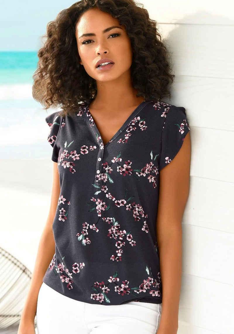 LASCANA Shirttop (2er-Pack) mit kleinen Flügelärmelchen und floralem Druck