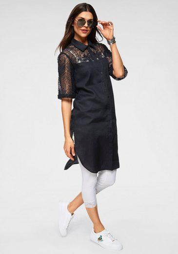 Clarina Blusenkleid aus Leinen und Spitze
