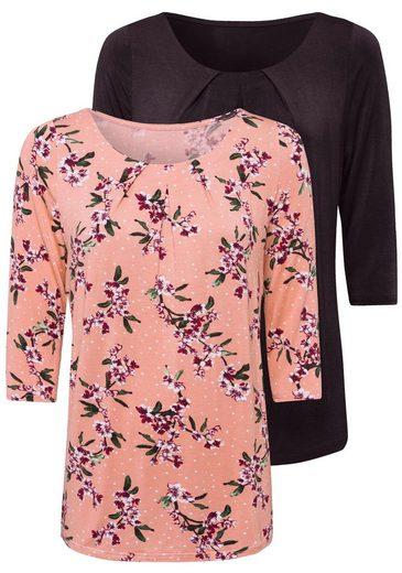 LASCANA 3/4-Arm-Shirt (2er-Pack) mit tollen Falten am Ausschnitt