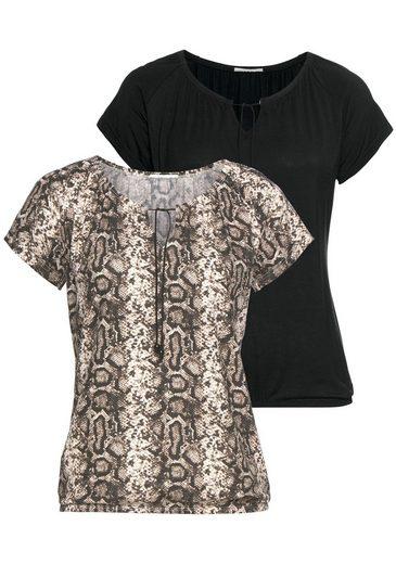 LASCANA Kurzarmshirt (Packung, 2-tlg., 2er-Pack)