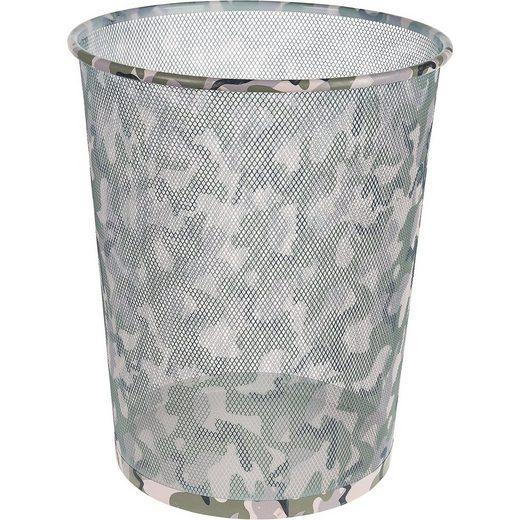 Idena Papierkorb Metall, Camouflage, 17,7 l