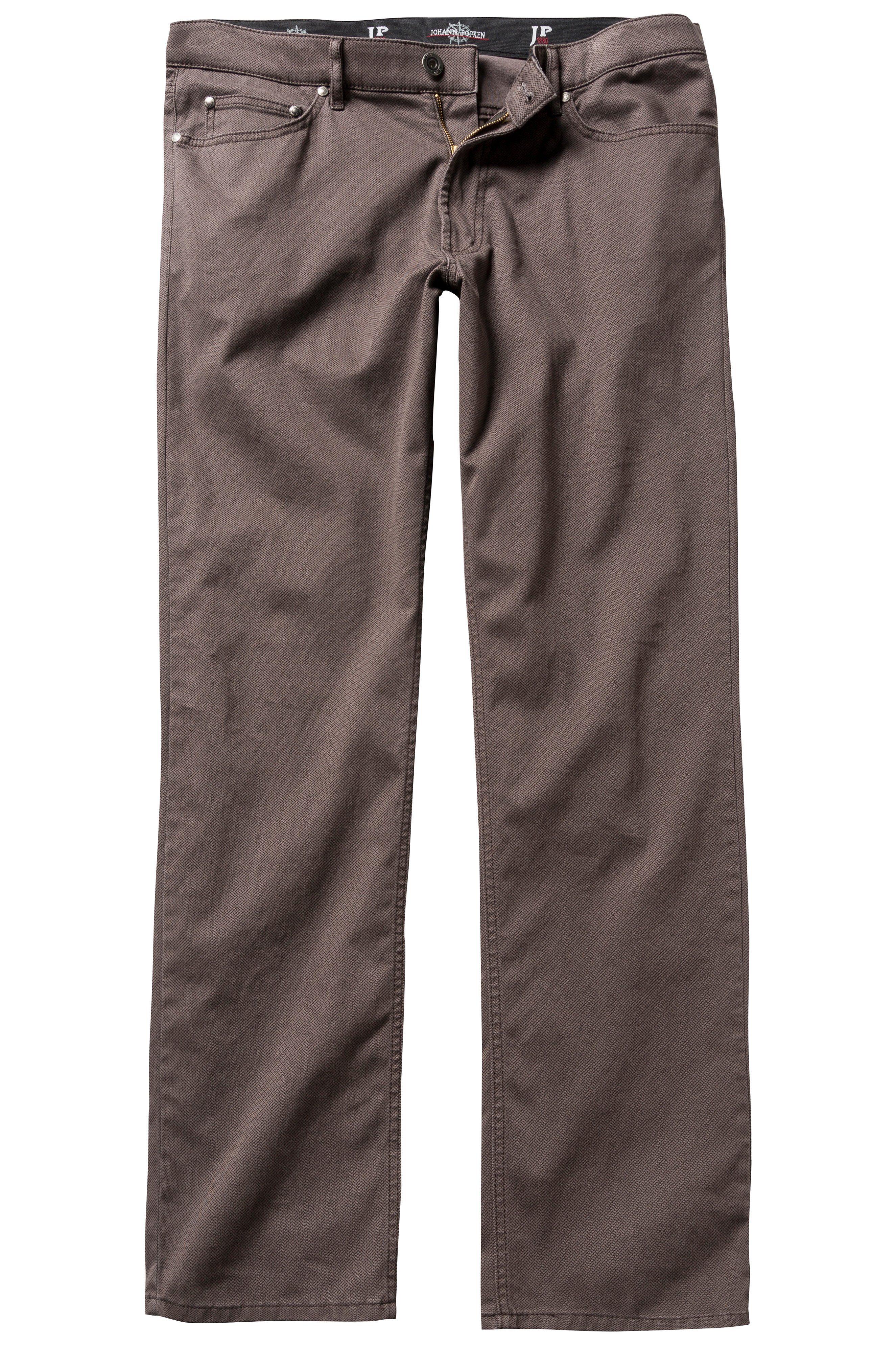 JP1880 Chinohose bis 66, 5-Pocket-Hose, Regular Fit, Zipper, Gürtelschlaufen, Minimalmuster, Baumwolle