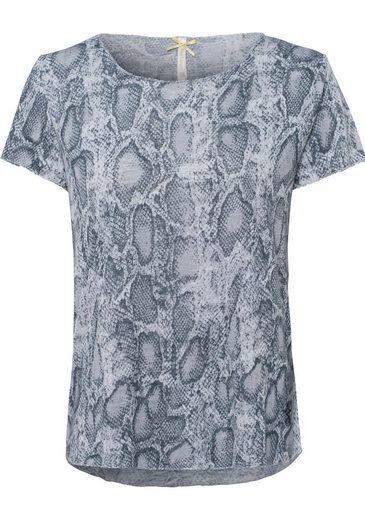 Key Largo Rundhalsshirt »REPTILE« mit Reptil-Alloverprint und Lurexkanten