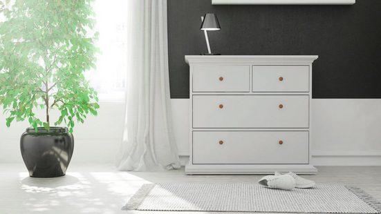 Home affaire Kommode »Paris«, mit vier Schubladen, im romantischen Landhaus-Stil, aus schönem Holzfurnier, Breite 96,2 cm