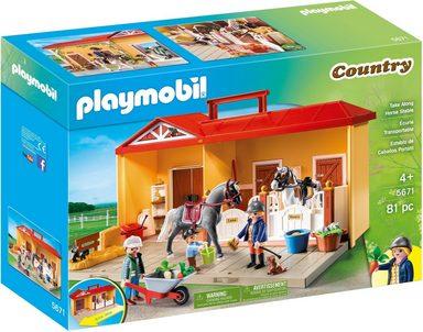 Playmobil® Konstruktionsspielsteine »Mitnehm Pferdestall (5671), Country«