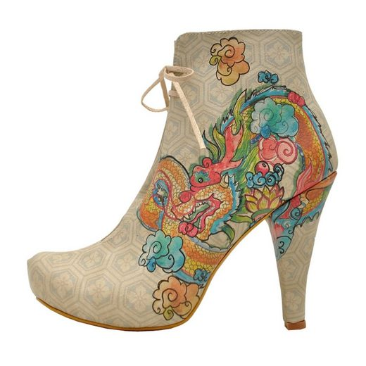 DOGO »chinese dragon above clouds« High-Heel-Stiefelette Vegan