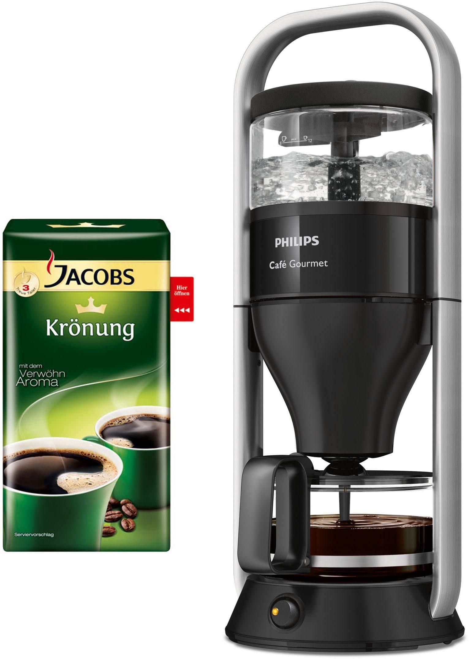 Philips Filterkaffeemaschine HD5408/29 Café Gourmet, 1 x 4, inkl. 500g Jacobs Krönung, 1l Kaffeekanne, Papierfilter