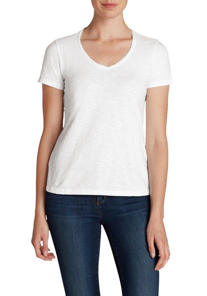 Damen Eddie Bauer  T-Shirt Essential Slub Shirt – Kurzarm mit V-Ausschnitt weiß | 04057682065700