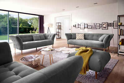 3C Candy Polstergarnitur »Trelleborg«, 2,5- und 3-Sitzer skandinavisches Design mit feiner Steppung und Holzfüßen