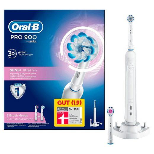 Oral B Elektrische Zahnbürste PRO 900 Sensi Ultrathin, Aufsteckbürsten: 2 St., Powered By Braun