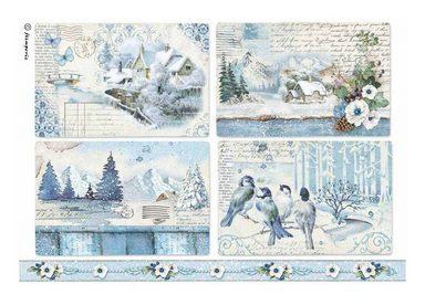 "Stamperia Motiv-Strohseide ""Wintertime"" DIN A4"