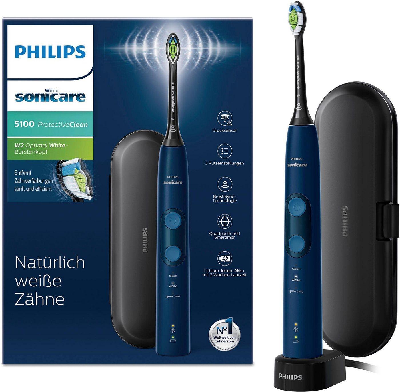Philips Sonicare Schallzahnbürste HX6851/53, Aufsteckbürsten: 1 St., ProtectiveClean 5100 mit Andruckkontrolle blau  Mundpflege