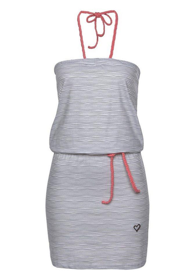 alife and kickin Neckholderkleid »KIM« modisches Off-Shoulder-Kleid mit verspielten Streifen- und Kontrastdetails | Bekleidung > Kleider > Neckholderkleider | Weiß | alife and kickin