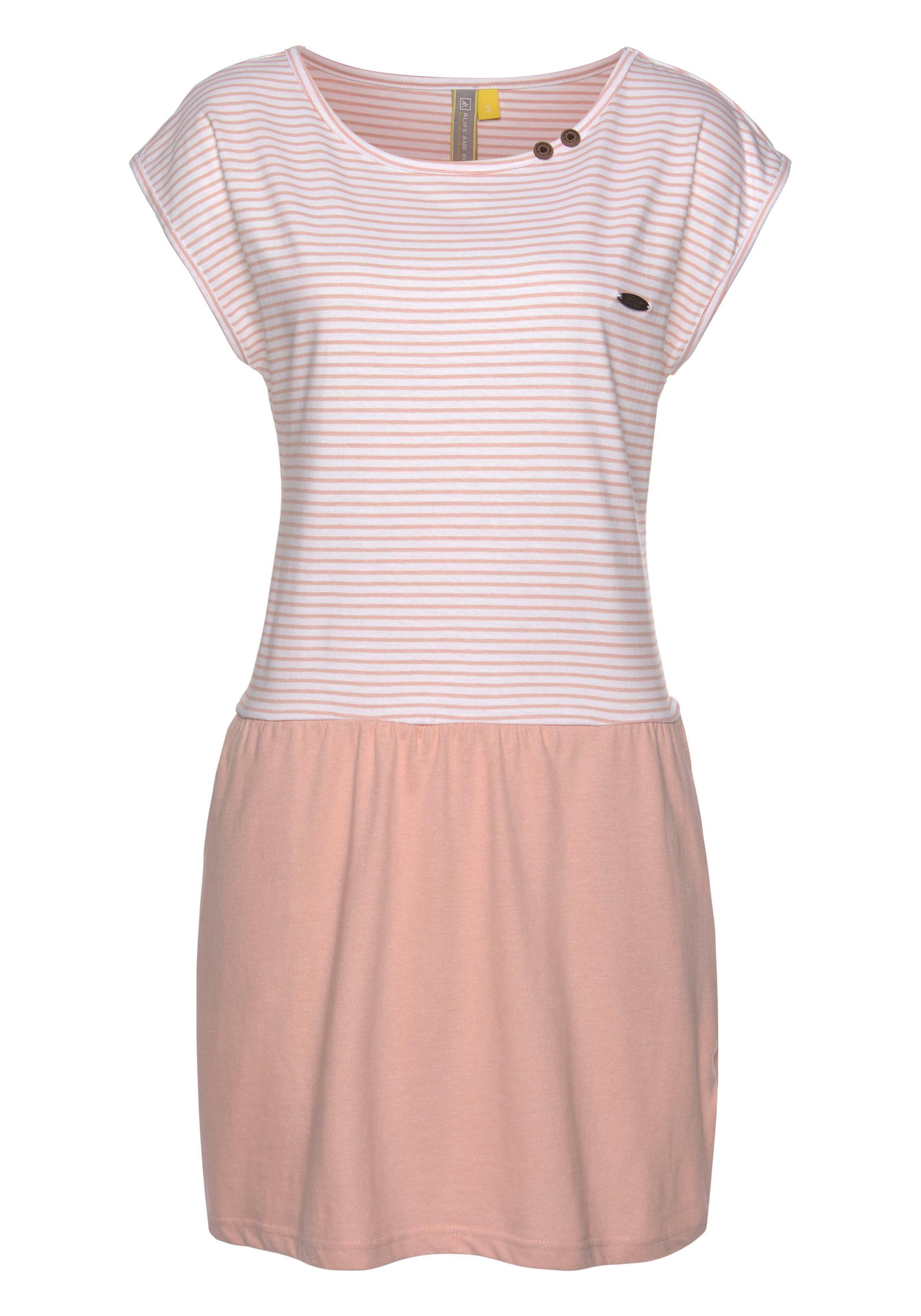 alife and kickin Jerseykleid »SHANNA« modisches Shirtkleid mit gestreiftem Oberteil