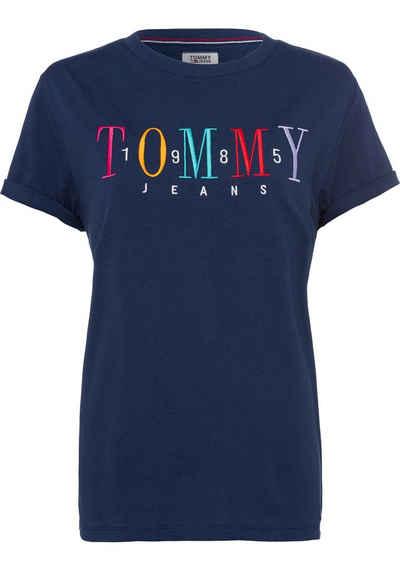 c96d170e3510c TOMMY JEANS Rundhalsshirt mit bunter Labelstickerei vorn