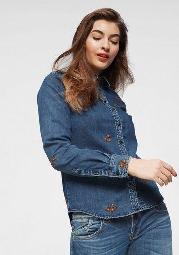 LTB Jeansbluse »BRINDA« mit Allover-Blumenstickerei