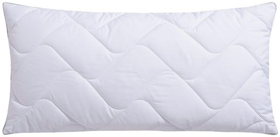 Microfaserkissen, »Climacontrol® II m. Baumwollbezug«, fan Schlafkomfort Exklusiv, Bezug: 100% Baumwolle, (1-tlg), optimierte Klimafunktion durch Lüftungsband