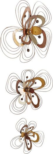 Home affaire Wanddekoobjekt »Blüten« (3er-Set), Wanddeko, aus Metall