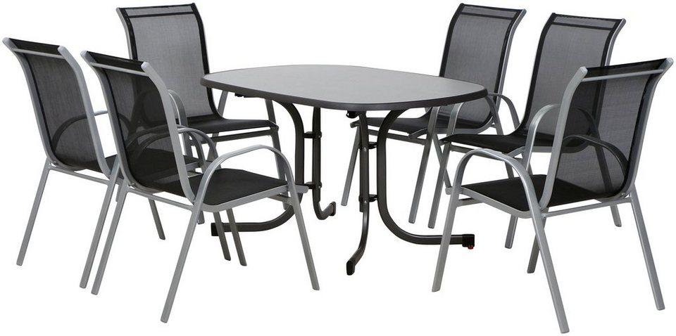 Gartenmobelset Saturnii 7tlg Alu Stahl 6 Stuhle 1 Tisch