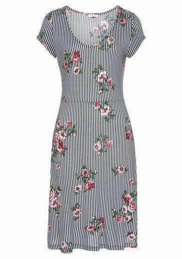 Beachtime Jerseykleid mit Streifenprint und Blumen