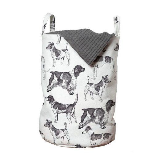 Abakuhaus Wäschesack »Wäschekorb mit Griffen Kordelzugverschluss für Waschsalons«, Hundeliebhaber Monochrome Hunderassen
