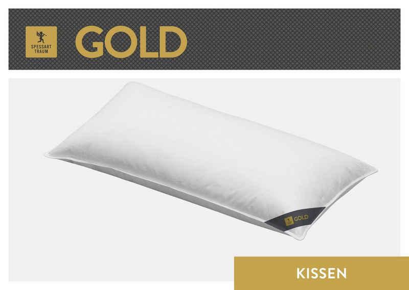 Daunenkissen, »Gold«, SPESSARTTRAUM, Füllung: 30% Gänsedaunen, 70% Gänsefedern, Bezug: 100% Baumwolle, (1-tlg), hergestellt in Deutschland, allergikerfreundlich