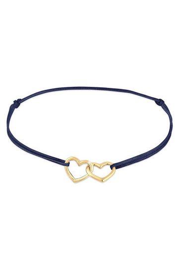 Elli Armband »Herz Nylon Bändchen Verspielt Trend 925er Silber«