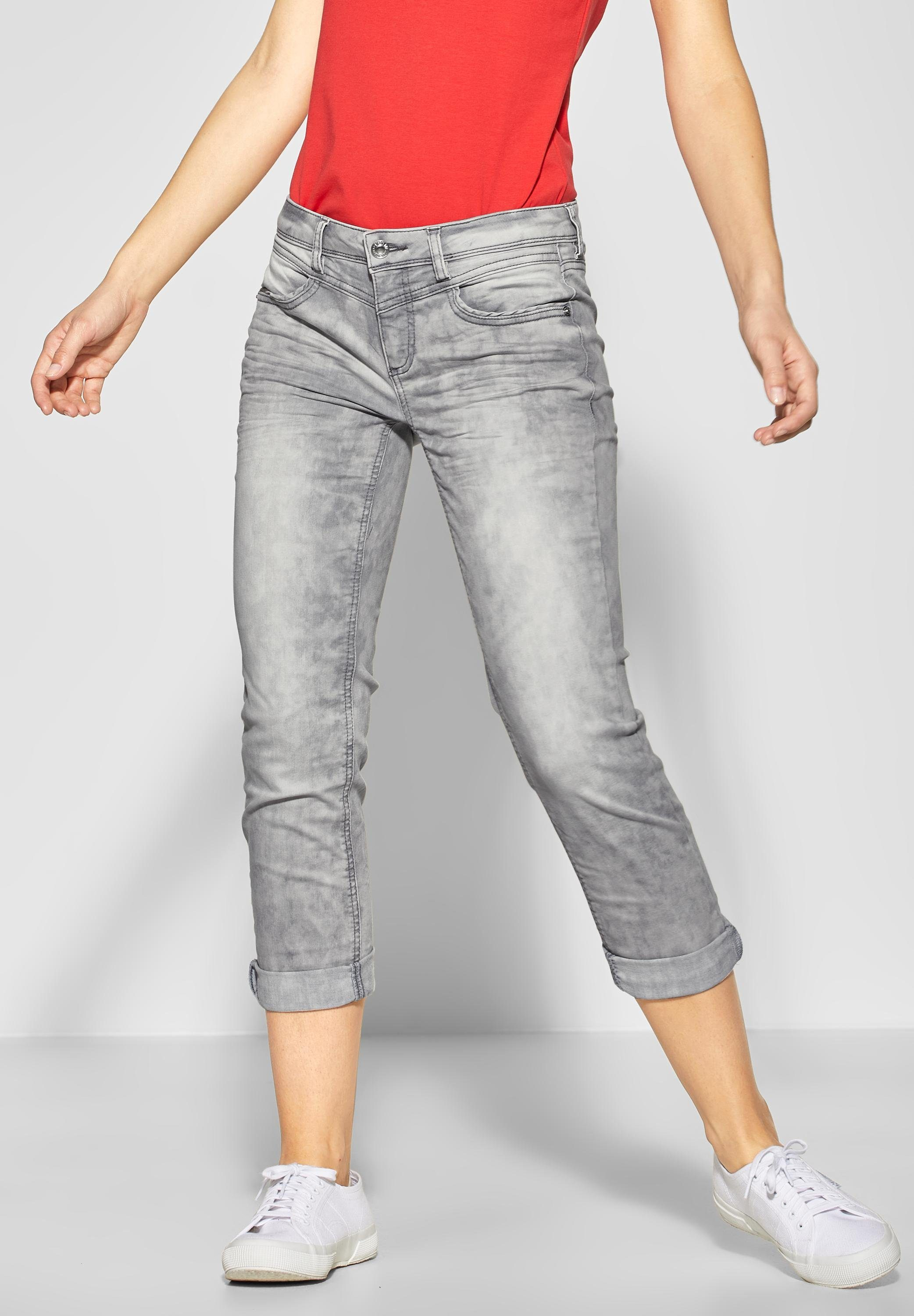 STREET ONE Comfort-fit-Jeans in grauer Waschung