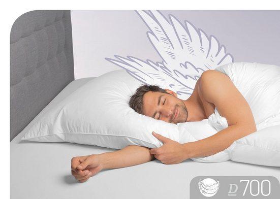 Gänsedaunenkopfkissen, »D700«, Schlafstil, Füllung: 60% Gänsedaunen, 40% Gänsefedern, Bezug: 100% Baumwolle, (1-tlg)