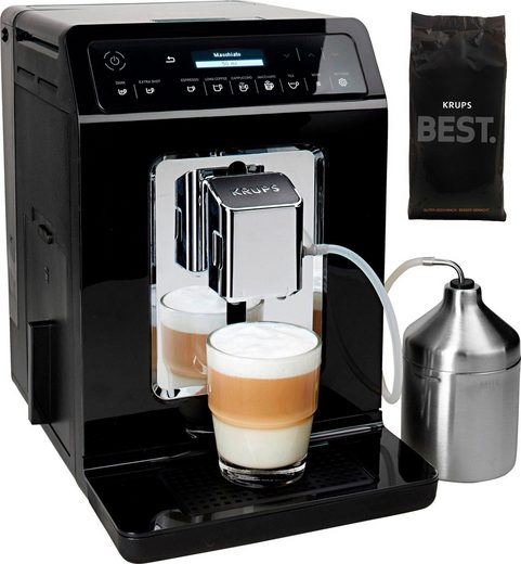 Krups Kaffeevollautomat Evidence EA8918, Doppel-Cappuccino-Funktion, 15 Getränkespezialitäten, inkl. 250 gr ESPRESSO KAFFEE - KRUPS BEST im Wert von 6,99 UVP