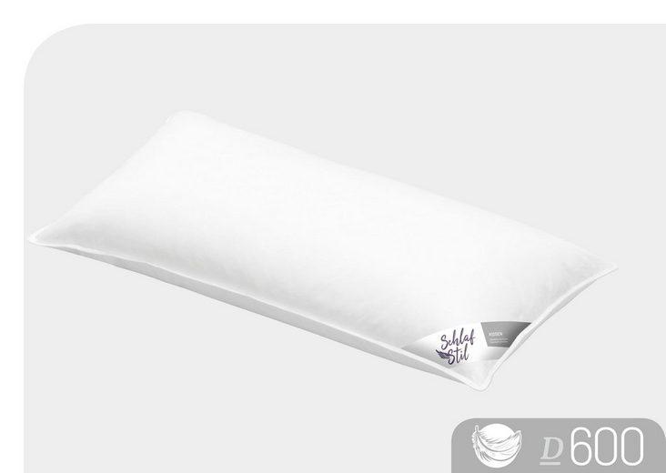 Daunenkissen, »D600«, Schlafstil, Füllung: 50% Gänsedaunen,50% Gänsefedern, Bezug: 100% Baumwolle, (1-tlg)