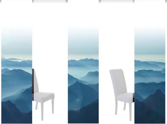 Schiebegardine »HILLS«, HOME WOHNIDEEN, Klettband (5 Stück), 5er Set